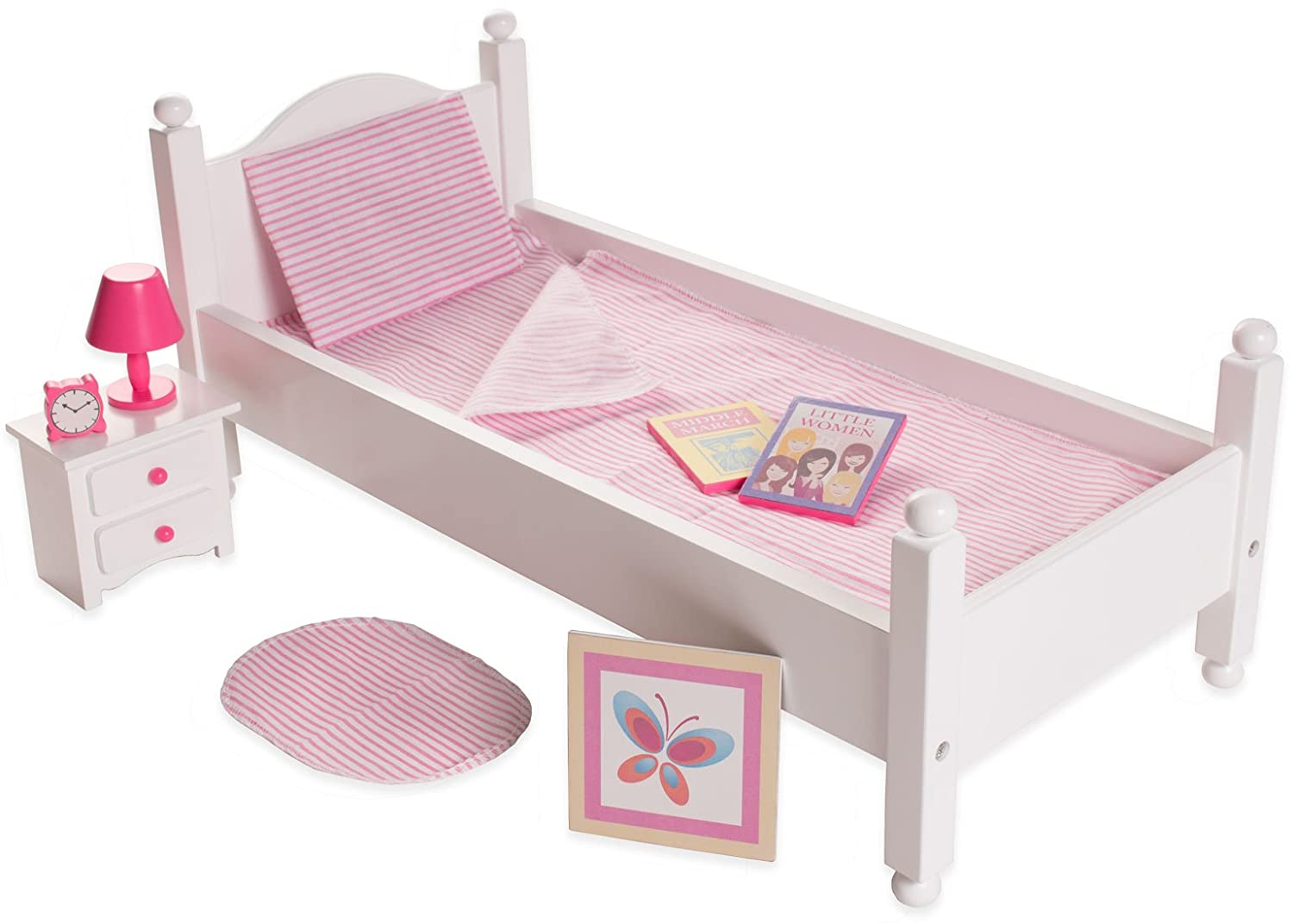 Playtime by Eimmie Bedroom Set - Doll Bed with Doll Accessories - Bed Furniture Set for 18 Inch Dolls