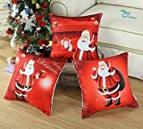 Set of 3 CaliTime Throw Pillow Cover 18 X 18 Inches, Christmas Holidays Print, Santa Clause with Gifts Combo Set