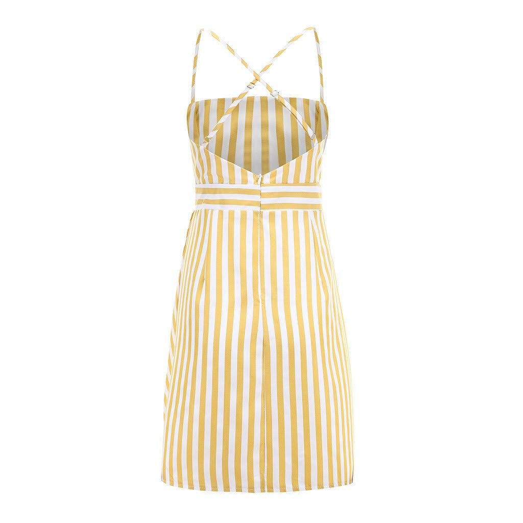 Women Stripe Cami Dress - Ladies Boat Neck Sleeveless Spaghetti High Waist Mini Dresses - Elegant Back Crisscross Beach Daily Clothes (L, Yellow) by Leadmall Dress (Image #7)