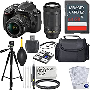 Nikon D3400 DSLR Camera w/ 18-55 and 70-300mm Lenses + 64GB Card + Essential Photo Bundle