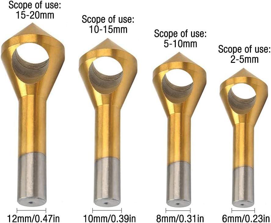 Gobesty M/èches de chanfrein /à chanfreiner 4 pi/èces de foret /à chanfreiner HSS rev/êtu de titane outil de chanfrein /à 90 degr/és pour plaque de m/étal en bois 2-5 mm 5-10 mm 10-15 mm 15-20 mm