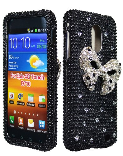 Bastex Bow Bling Rhinestone Diamond Cover Case Snap on for Samsung Galaxy S2 D710 Sprint - Samsung Galaxy S2 Bow Case