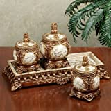 Touch of Class Selina Jars with Tray Set Gold Set of Four