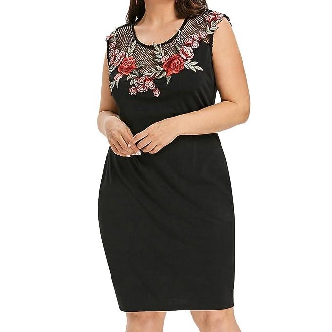 f615878913b Owill Women Plus Size Applique Grenadine Patchwork Sleeveless Party Mini  Dress (Black