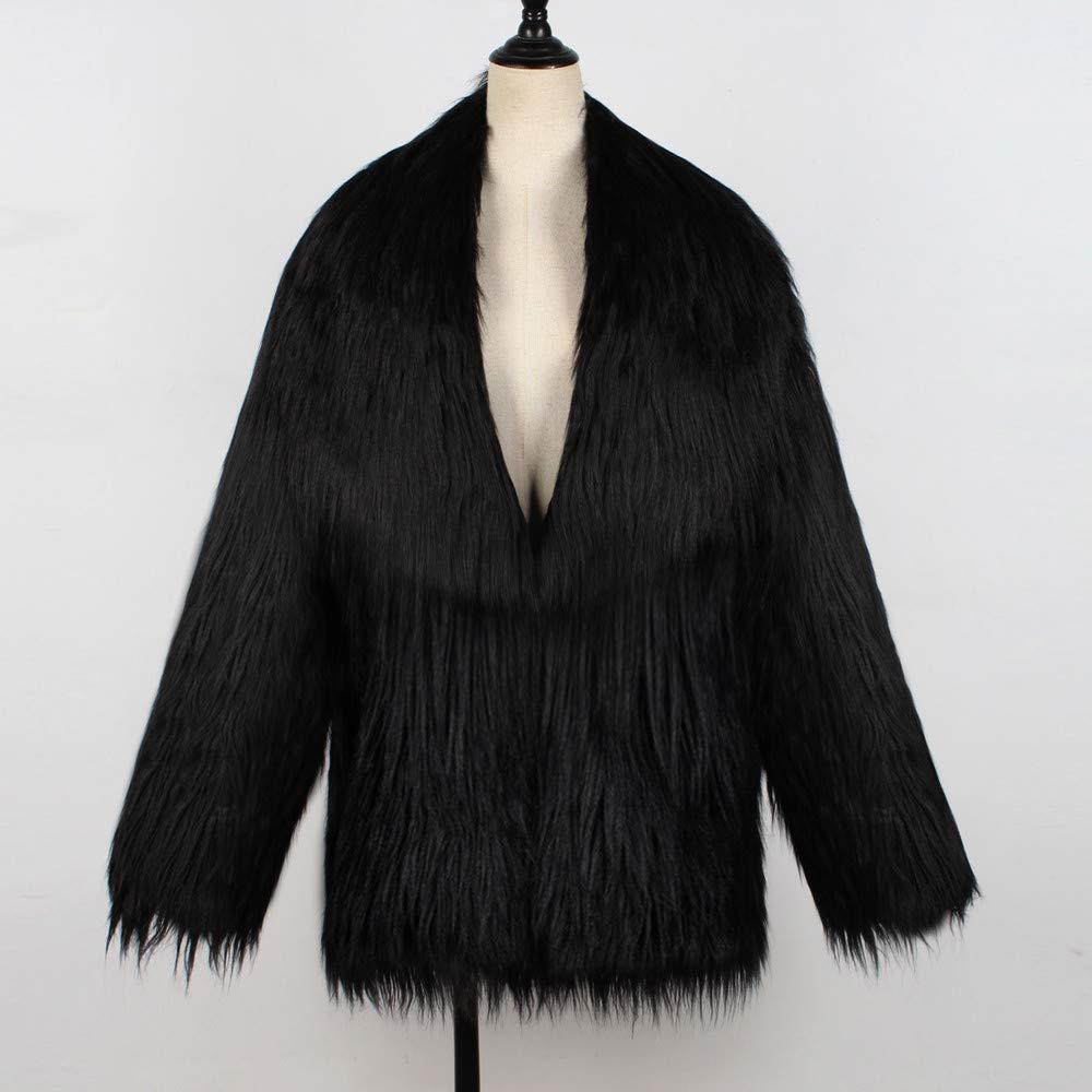 Inverlee Womens Ladies Warm Faux Fur Coat Jacket Winter Solid Parka Large Lapel Outerwear