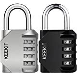 KeeKit Combination Lock [2 Pack] 4 Digit Anti Rust Padlock Set Weatherproof Lock Padlock Gate Lock Gym Lock Locker Lock…