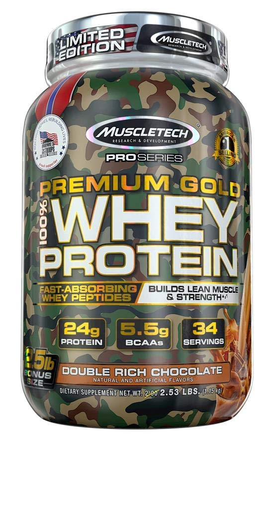 Muscletech Pro Series Premium Gold 100 Whey Protein Bonus Double Rich Chocolate, 40.48 Oz- Limited edition camo