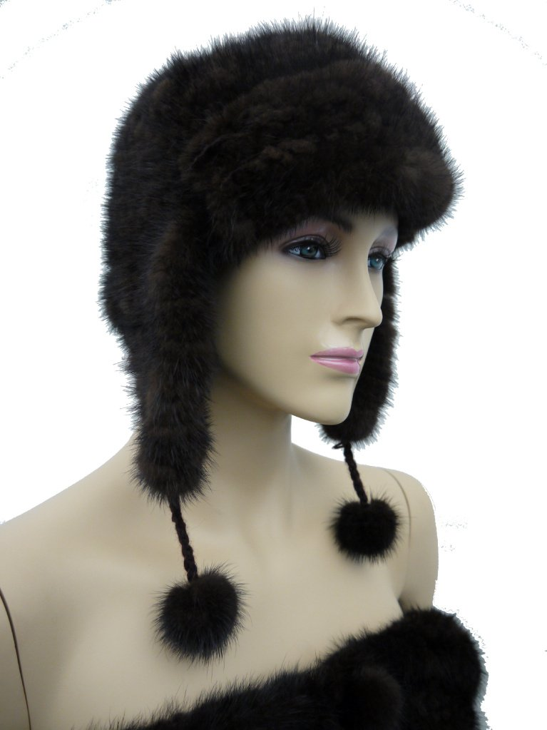 Knit Mink Trooper Hat with Pom Poms - Brown by Hima