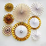 DLOnline 8 PCS Gold Paper Fan Flower Hanging
