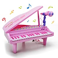 WISHTIME Kids Electronic Piano Keyboard Toy Multi Function 32 Keys Light and Musical Instruments with Microphone MP3 Record Sing Musical Toy for Kids