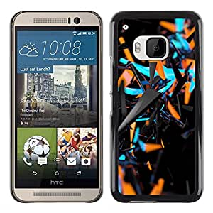 Planetar® ( Blue Orange Abstract 3 D Black Pattern ) HTC One M9 Fundas Cover Cubre Hard Case Cover