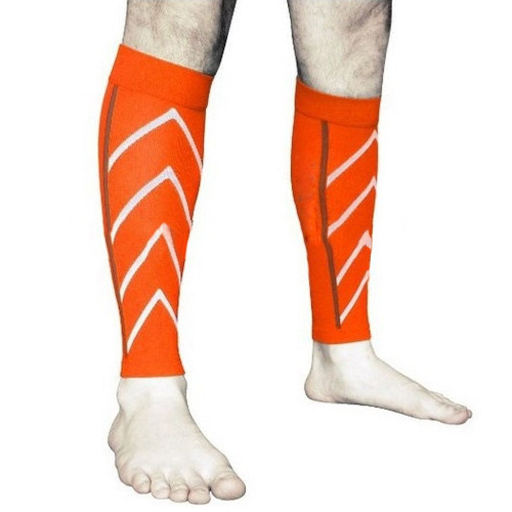 Hisoul Calf Compression Sleeve - Compression Leg Sleeve Sports Socks - for Running, Shin Splint, Medical, Travel, Nursing (1 Pair) (Orange)