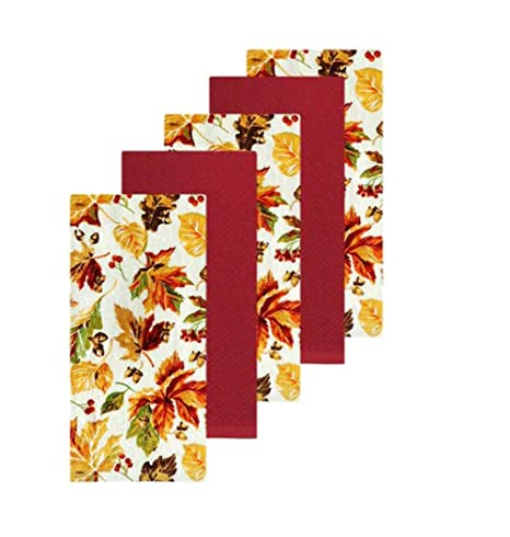 Fall Pumpkin Watercolor Kitchen Towel 5 Pack.Autumn Harvest Theme The Big One