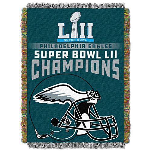 """Officially Licensed NFL Philadelphia Eagles """"Tremendous Bowl 52 Champions"""" Woven Tapestry Throw Blanket, forty eight"""" x 60″ – Sports Center Store"""