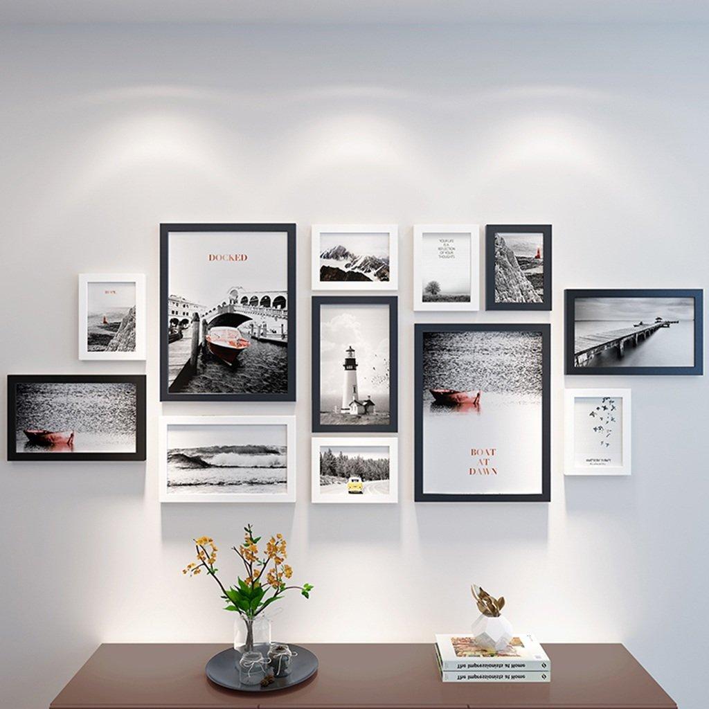 Unbekannt Bilderrahmen-Wand 12 Bilderrahmen-Galerie-Kit Beinhaltet: Rahmen, Wandvorlage, Kunstmalereikern -LI JING SHOP