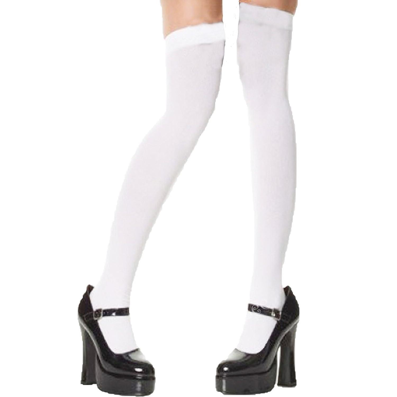 Calze Taglia Unica Bianco Oltre Ginocchio Autoreggenti con Fiocco Bianco
