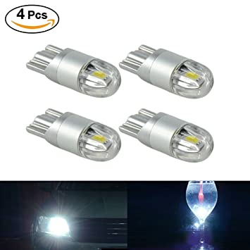 SUPAREE 4X Blanco Bombilla LED T10 3030 2SMD W5W luz Lateral, lámpara de la Placa