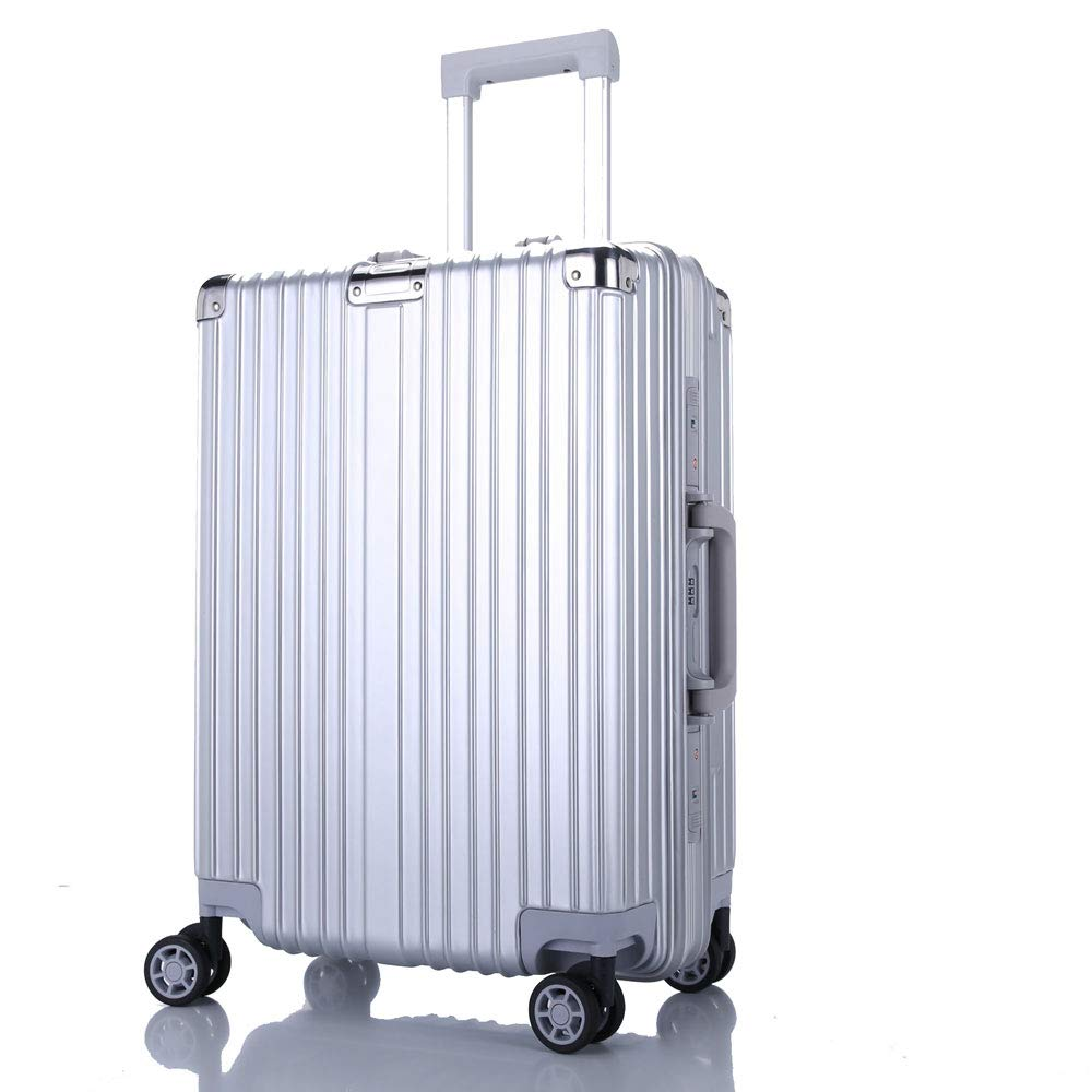 トロリーボックスユニバーサルホイールアルミフレームの荷物レトロラップスーツケーススーツケース男性と女性のビジネスパスワードボードに (Color : シルバー しるば゜, Size : 20 inches)   B07QVNNM3T