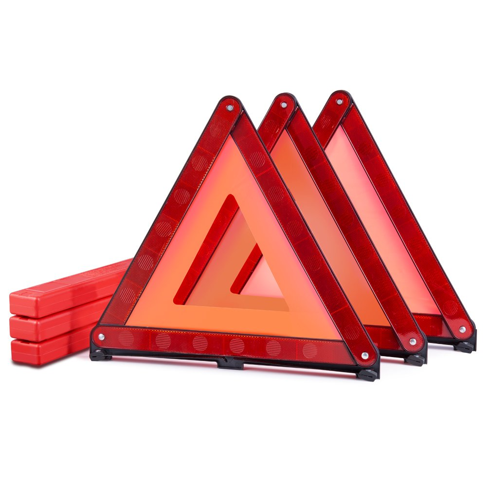 MYSBIKER Warning Triangles, Emergency Triangles, 3 Pack Reflective Triangle Sign with Storage Case for Road Safety Triangle Kit