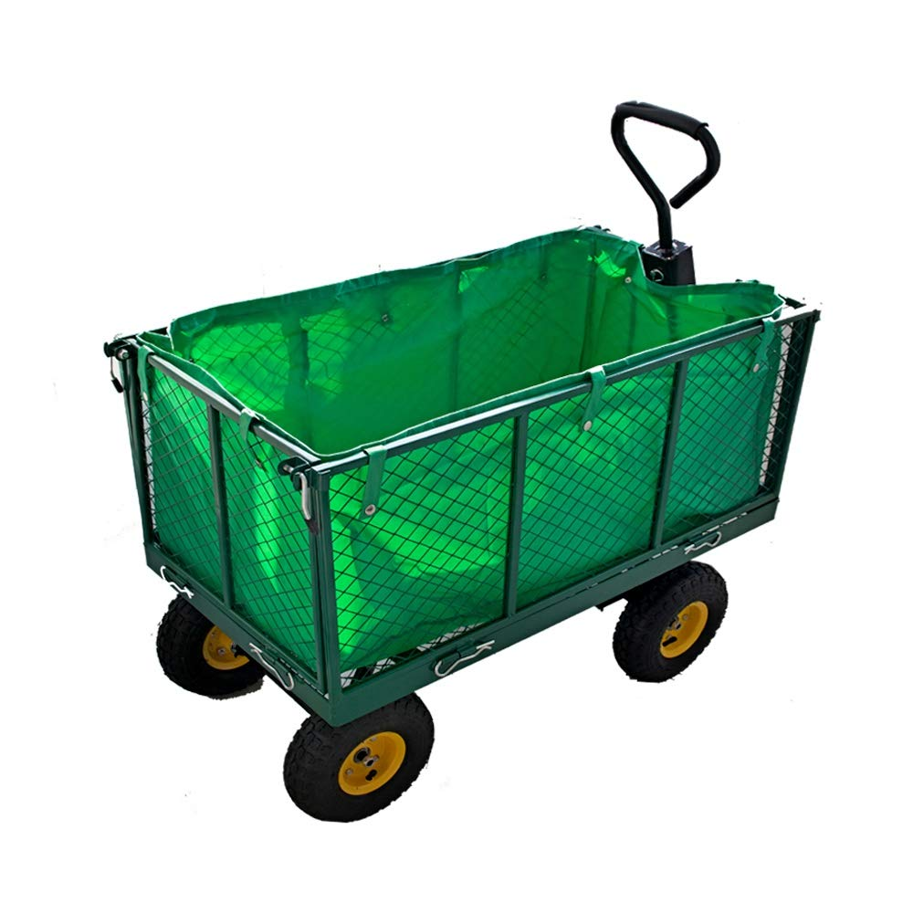 Large Garden Trolley Cart Truck 4 Wheels With Interior Cover Transport Metal Wheelbarrow KYD