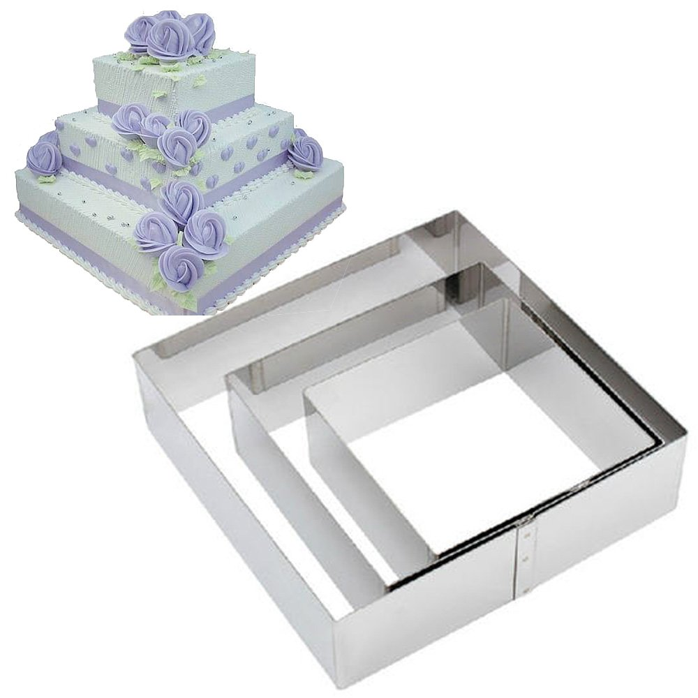 TAMUME Stainless Steel Baking Molds Cake Tin Set of 3 Cake Moulds (Square)