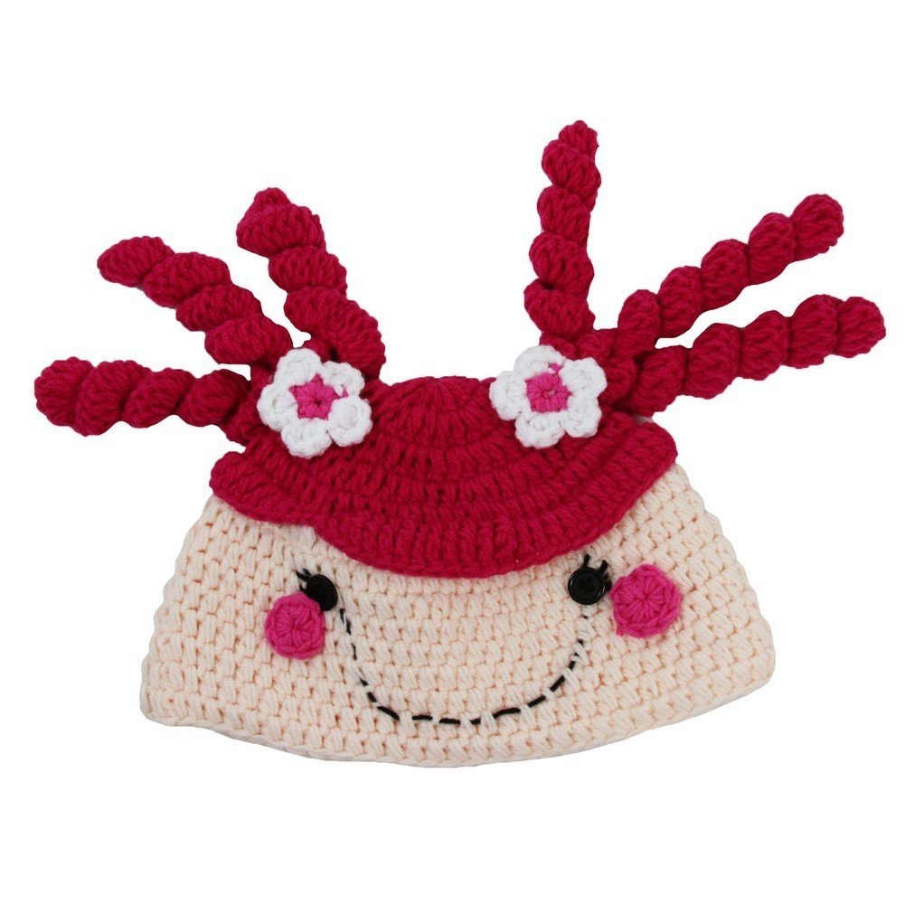 Dress Up Dreams Boutique Little Girls Pink Tan Curly Pig-Tail Soft Cotton Handmade Crochet Hat 2-4 Y