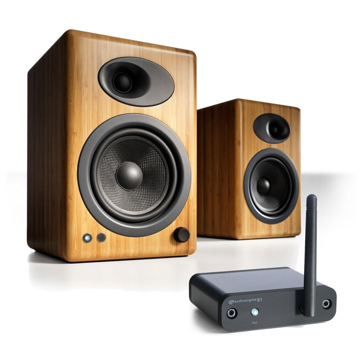Audioengine A5+ Limited Edition Premium Powered Desktop Speaker Package (Natural) With B1 Bluetooth Music Receiver