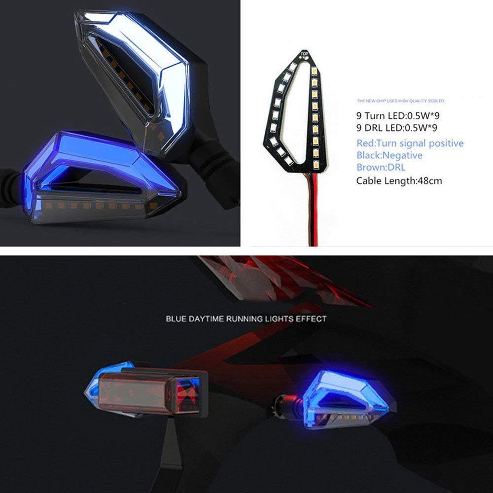 Universal Motorcycle Pair LED Turn Signal Light Indicators Amber and Blue Lamps