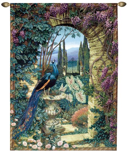 Manual Weavers Secret Garden Peacock Urn in Archway Cotton Tapestry Wall Hanging 80