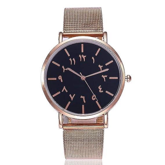 ZXMBIAO Reloj De Pulsera Moda Única Mujer Números Reloj Casual Correa De Malla De Acero Inoxidable Reloj De Pulsera De Cuarzo, Oro Rosa Negro: Amazon.es: ...