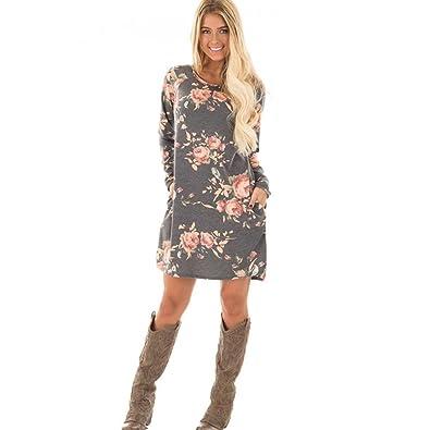 Kleid Damen Floral bedrucktes Kleid Sweatshirt Langarm Minikleid Abendkleid  Hoodie Cocktailkleider Herbst Winter Kleid Kurzarm Kleider Strandkleid ... 8b7a88eacb