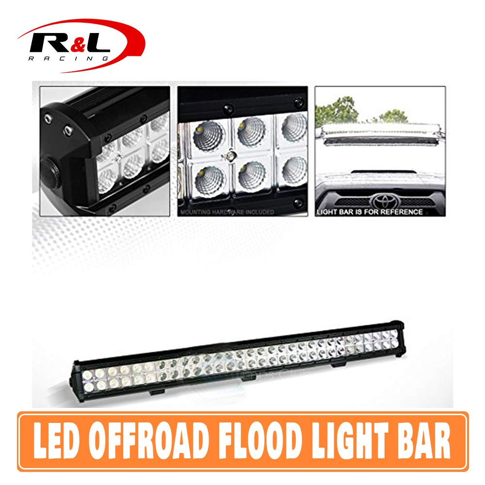 R&L Racing 60X Cree Led 180W Offroad Flood Light Bar Spot Bull Guard Roof Bumper Mount C01