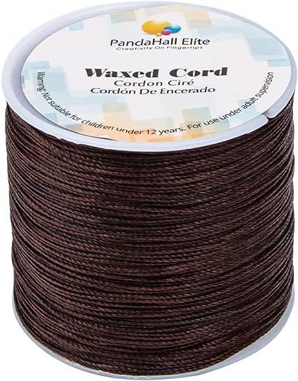 PandaHall Elite - Bobina de hilo de algodón encerado redondo para bisutería y suministros de macramé, Marrón coco, 106m/roll 0.5mm: Amazon.es: Hogar