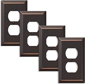 Amerelle 163DDB Traditional Steel Wallplate, Aged Bronze, Outlet (4)