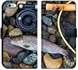 Luxlady iPhone 6 Plus / 6s Plus Flip Fabric Wallet Case Image ID: 34662975 Top View of a Single Native Wild Trout Next to Fishing Reel Landing net