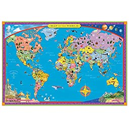 eeBoo Laminated World Map for Kids