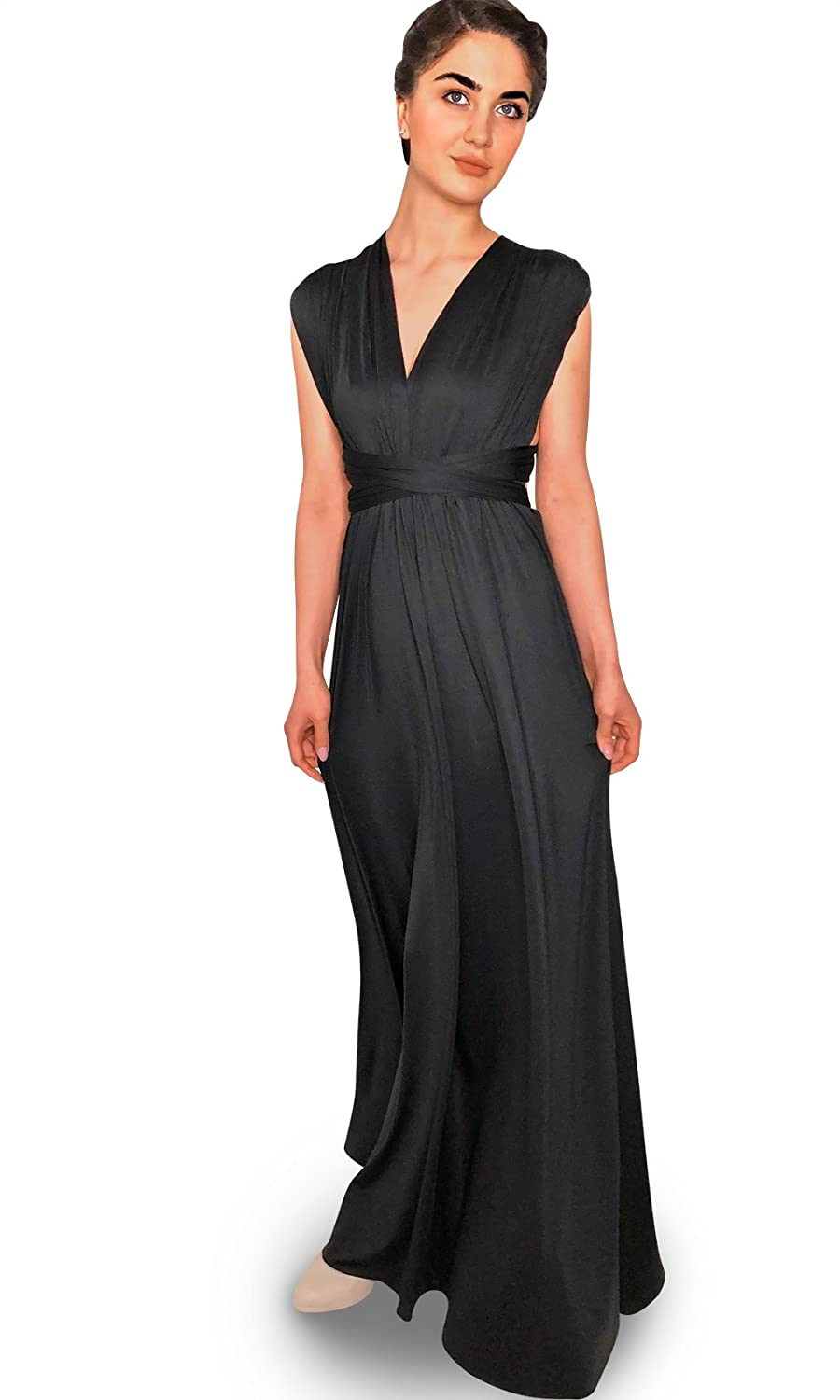 70a118e9a419 4Now Fashions Long Black Infinity Bridesmaid Dress Convertible Multiway:  Amazon.ca: Clothing & Accessories