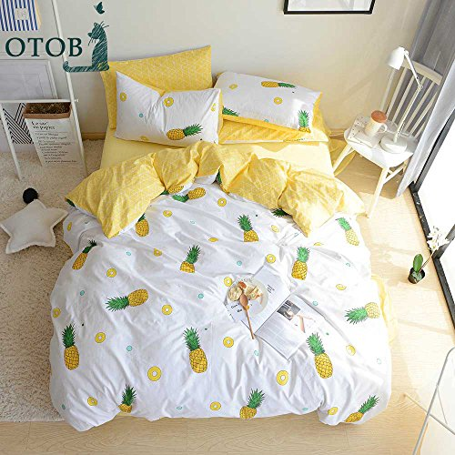 ORoa some fruits Pie Yellow Pineapple create 3 Pieces Kids Girls Bedding Sets Twin 100 Cotton Luxury very soft Duvet Cover Twin utilizing Pillowcases greatest Bedding Christmas Gifts for children Teen Twin Size,Pineapple