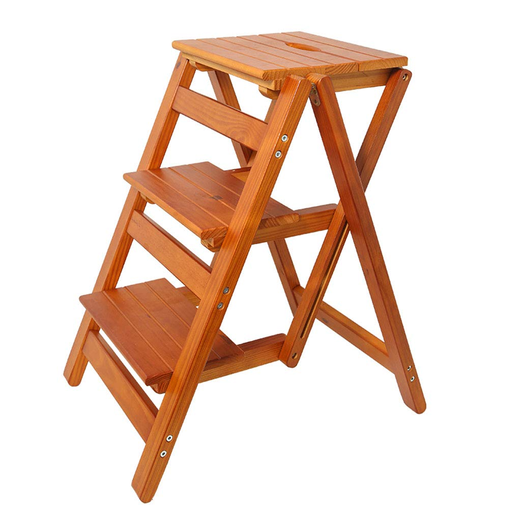 3 Step Stool Home Wooden Folding Ladder Chair Thickened Library Stair Chair Portable Light Garden Tool Ladder Maximum Load 150KG (3 Colors)