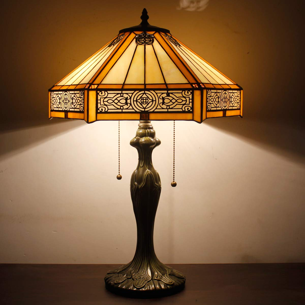 Tiffany Lamp Yellow Hexagon Stained Glass Mission Style End Coffee Table Lamps Bookcase Reading Lighting Lampshade Antique Base W16 H24 Inch Living Room Bedroom Bedside Desk S011 WERFACTORY