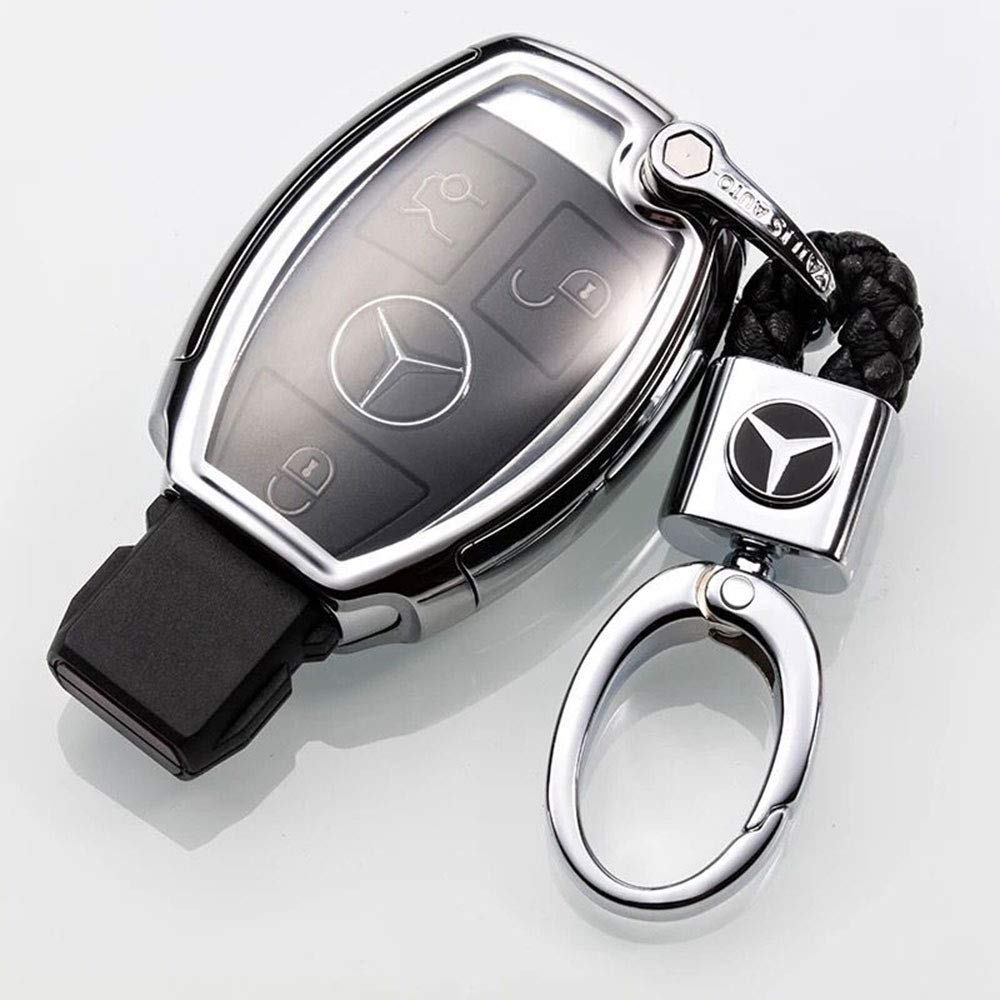 Aswelly 2Pack Genuine Leather Car Logo Keychain Keyring Accessories For Benz