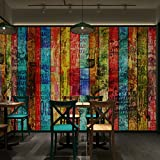 Colomac 3D color brick wall painting KTV bar restaurant barbecue cafe background graffiti art wood brick wallpaper mural 98.4 Inch x 78.7 Inch