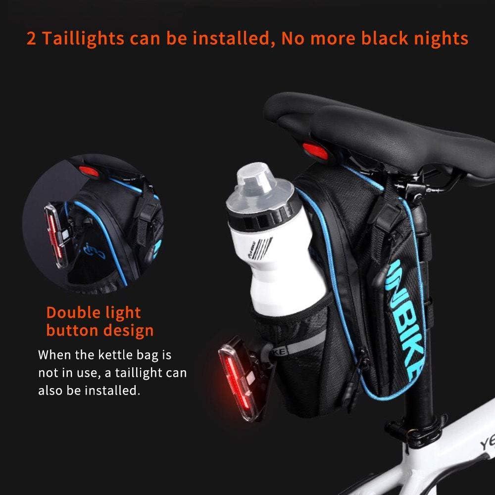 Arkmiido Fahrrad Satteltasche Mountainbike-Zubeh/ör Polyester-Satteltasche mit Tasche f/ür 1,2 L Wasserflasche Mit Wasserdicht Kratzfest Reflektierendes Material