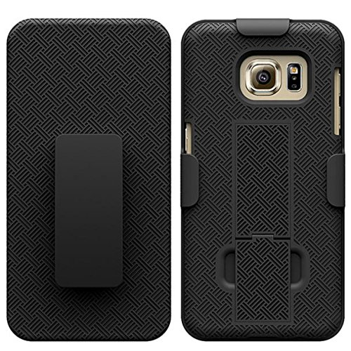 Combo Shell Case w Kick-stand Swivel Clip Holster Cover Black Protective Defender Shockproof for US Cellular Samsung Galaxy S7 (SM-G930R) - Verizon Samsung Galaxy S7 (SM-G930V)