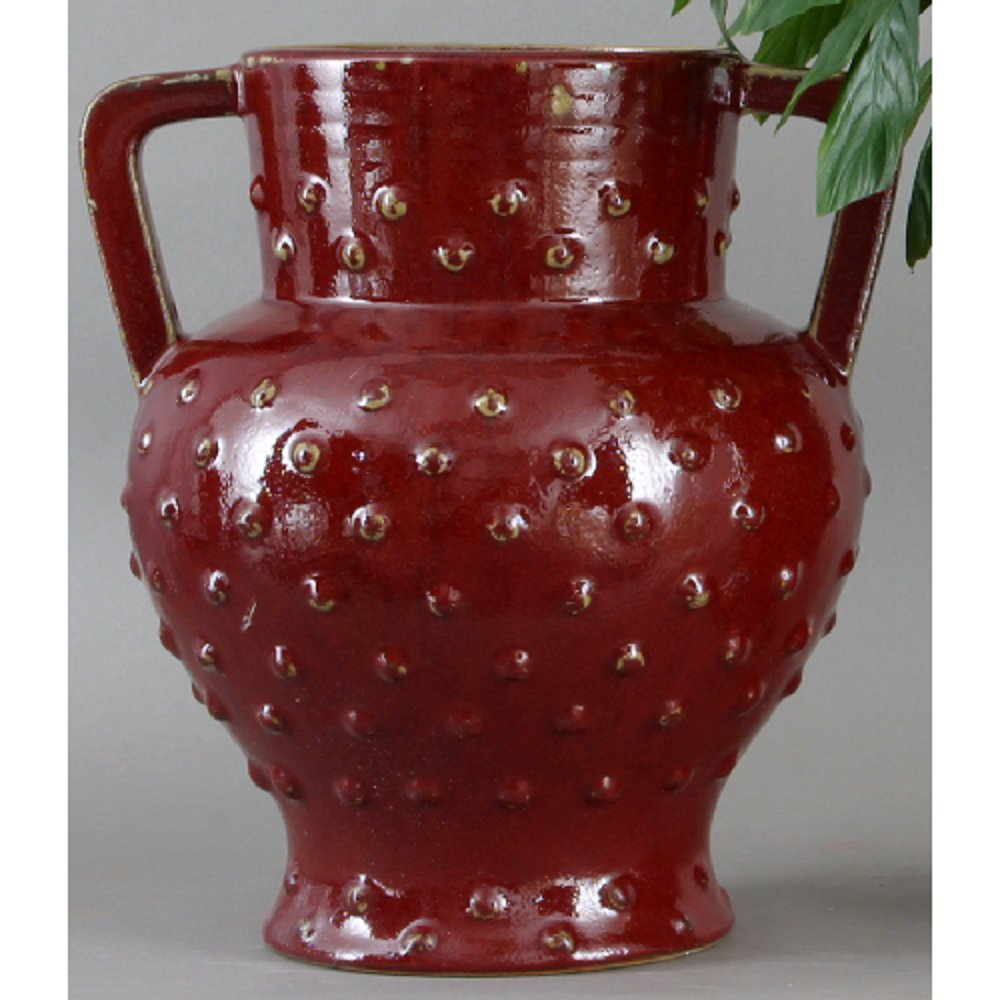 Home decor. Red Handled Vase. Dimension: 12 x 11 x 12. Pattern: Red Majolica.