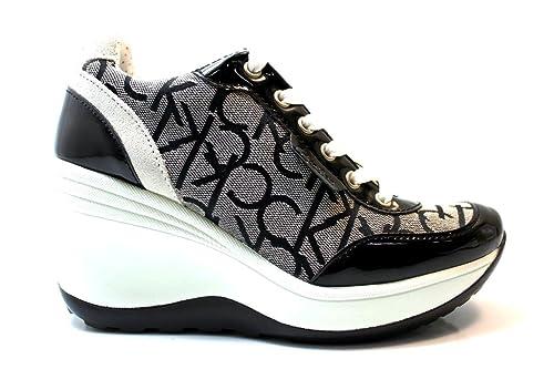 2b278c4b643e59 Calvin Klein Jeans RE9236 Granite Sneakers Scarpe Donna Casual Sportive  Zeppa