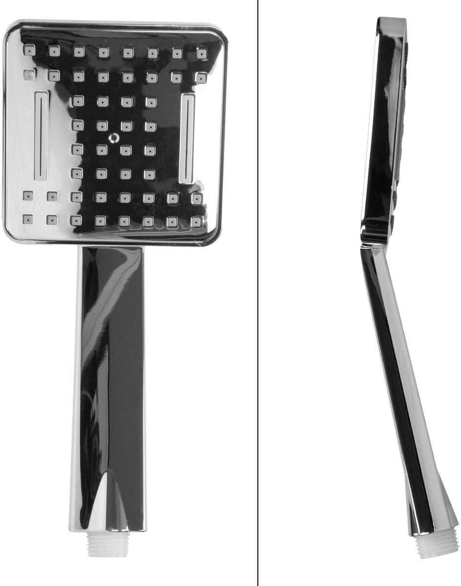 ECD Germany Conjunto de Ducha de Ba/ño con Efecto Lluvia Panel Oval con Boquillas Antical 200x200mm Acero Inoxidable Alcachofa Fija Efecto Lluvia Grifos de Mano Manguera y Accesorios de Montaje