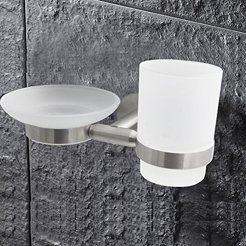 XVL Wall-mounted Toothbrush Holder And Soap Dish Two Function, Brushed G1009 (Mounted Holder Nickel Toothbrush Wall)
