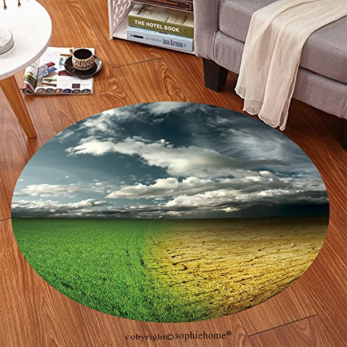 Sophiehome Soft Carpet 51151069 Green meadow and cracked desert land under storm clouds Anti-skid Carpet Round 47 inches