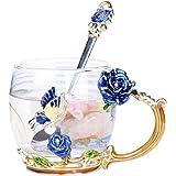 YBK Tech 上品 フラワーグラスマグ ティーカップ 耐熱ガラス クリスタル ラスティーカップ ハンドル付き ホットビバレッジ、アイスティー、ース 姉妹、ママ、おばあちゃん、教師に最適なギフト- 青い蝶と青いバラ (短い (320ml) ギフトボックスなし)